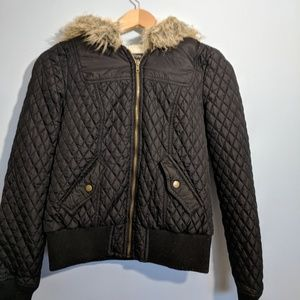 Black winter puffer style coat size 6